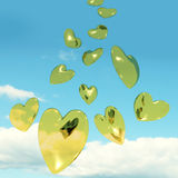 Metallic Gold Hearts Falling Royalty Free Stock Photography