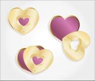 Metallic gold hearts locket Royalty Free Stock Photo