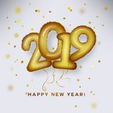 Metallic Gold Letter Balloon, 2019 Happy new year, Gold Foil Number Alphabet Letter Balloons. New year celebration, decoration, beautiful golden confetti royalty free illustration