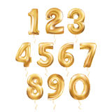 Metallic Gold Letter Balloons 123. Metallic Gold Letter Balloons, 123 golden numeral alphabeth. Gold Number Balloons, 1, Alphabet Letter Balloons, 2, Number vector illustration
