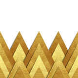 Metallic gold paper border background. Vector background with metallic paper cut out border - realistic hand made elements of gold foil with shadow and copy Royalty Free Stock Photo