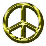 Metallic Gold Peace Sign Royalty Free Stock Photos