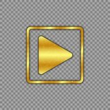 Metallic gold plated play button on isolated transparent background. The power button is scratched, worn. Vector illustration. stock illustration