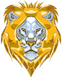 Metallic Gold and Silver Lion Head Vector Illustration. Vector cartoon clip art illustration of a polished shiny metallic gold and silver or chrome lion head vector illustration