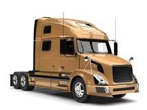 Metallic golden semi trailer truck - closeup shot vector illustration
