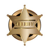 Metallic Golden Sheriff Badge Emblem Vector Icon Royalty Free Stock Image
