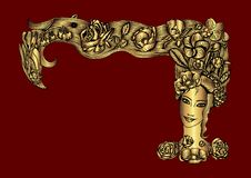 Metallic golden woman`s face with summer flora in hair, on maroon backgound royalty free illustration