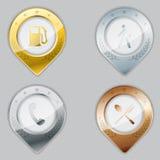 Metallic gps pointer set Stock Photography