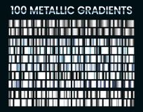 Free Metallic Gradients. Shiny Silver Gradient, Platinum And Steel Metal Material Colors Vector Illustration Set Stock Photography - 160965202