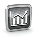Metallic graph icon. On a white background Stock Photos