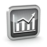 Metallic graph icon Stock Photos