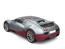 Metallic gray modern super sports car with dark red metallic details - top tail view Royalty Free Stock Photo