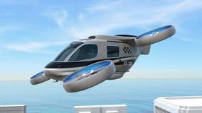 Metallic gray Passenger Drone Taxi landing on a rooftop helipad