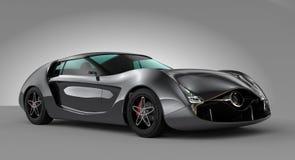 Metallic gray sports car  on gray background. Original design Royalty Free Stock Photography