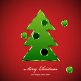 Metallic green christmas tree. Merry Christmas. Vector eps 10 vector illustration