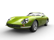 Metallic green classic sports car - front view closeup shot Stock Photo