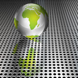 Metallic Green Globe on Chrome Grid Royalty Free Stock Photography
