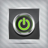 Metallic green power button icon Stock Photos