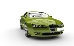 Metallic Green Sports Car Royalty Free Stock Images