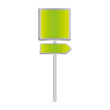 Metallic green square shape traffic sign with direction board set Royalty Free Stock Photography