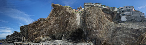 Metallic grid on rocks to prevent collapse in Cinque terre village Royalty Free Stock Photography