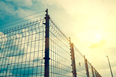 A metallic grilled fence Royalty Free Stock Photography