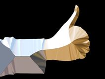 Metallic hand. Shiny hand giving thumbs up stock illustration