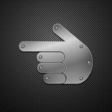 Metallic hand icon. Stock Photo