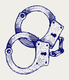 Metallic handcuffs Stock Image