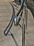 Metallic handrail. Shinny metallic handrail with reflections royalty free stock images