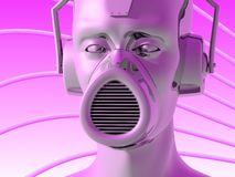 Metallic head. Illustration (3d render) of metallic head with headphones and face mask Royalty Free Stock Photo