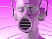 Metallic head. Illustration (3d render) of metallic head with headphones and face mask vector illustration