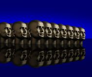 Metallic heads lined up Stock Image