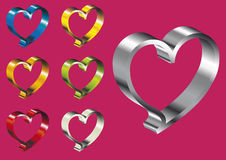 Metallic hearts Stock Image