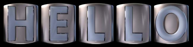 Metallic hello word. Metallic blue silver hello word realistic 3d rendered on black background Stock Photo
