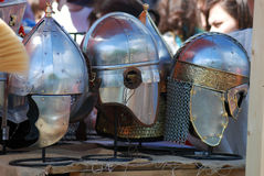 Metallic helmets shown at historical festival. Royalty Free Stock Image