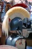 Metallic helmets shown at historical festival. Stock Image
