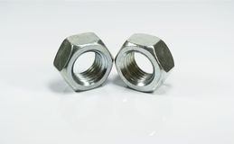 Metallic hexagonal nuts Royalty Free Stock Image