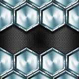 Metallic Hexagons Background Royalty Free Stock Photos