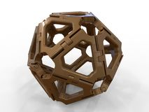Metallic hinge abstract sphere. 3D render illustration of an abstract sphere assembled from multiple hinges. The composition is isolated on a white background stock illustration