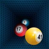 Metallic honeycomb tunnel and bingo balls. Three 3D Bingo Balls Rolling Out From Metallic Honeycomb Tunnel Royalty Free Stock Photography