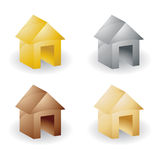 Metallic house icon set Royalty Free Stock Photography