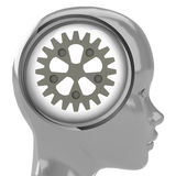 Metallic human head with brain cloud with cogwheel inside Royalty Free Stock Photo