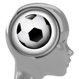 Metallic human head with brain cloud with sport ball inside Royalty Free Stock Photo