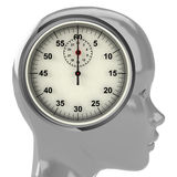 Metallic human head with brain cloud with time clock inside Stock Images