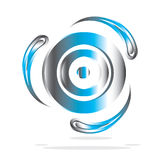 Metallic Icon. A metallic 3d icon is featured in an abstract illustration Stock Images