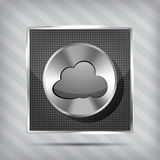 Metallic icon with chrome volume knob and cloud Royalty Free Stock Photo