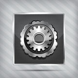 Metallic icon with gear Royalty Free Stock Photos
