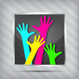 Metallic icon with happy hands Stock Photography