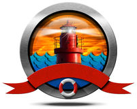 Metallic Icon with Red Lighthouse Stock Images